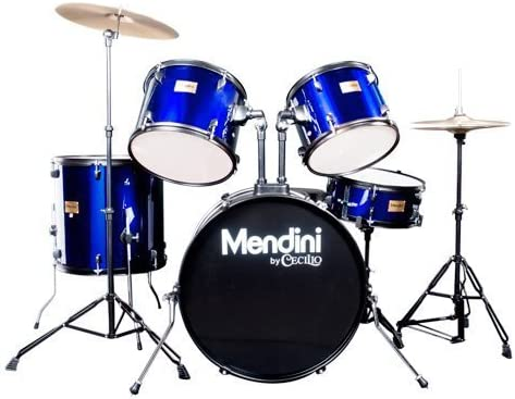 Mendini by Cecilio Complete Full Size 5-Piece Adult Drum Set w/Cymbals Pedal Throne Sticks
