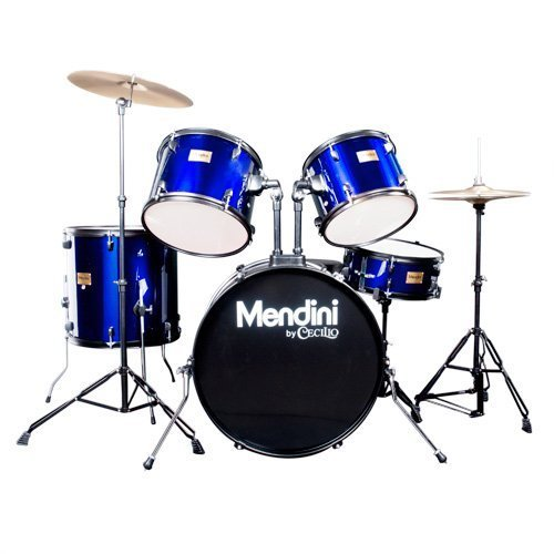 Mendini by Cecilio Complete Full Size 5-Piece Adult Drum Set with Cymbals, Pedal, Throne, and Drumsticks, Metallic Blue, MDS80-BL (Snare Poplar)