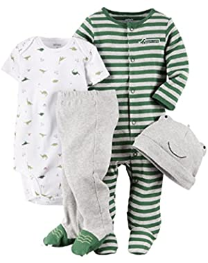 Baby Boys' 4 Piece Layette Set (Baby) - Dino-3M