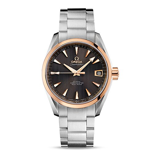Omega Seamaster Aqua Terra Teak Grey Dial Steel and 18K Rose Gold Automatic Mens Watch (Chronometer Automatic Gold Case)