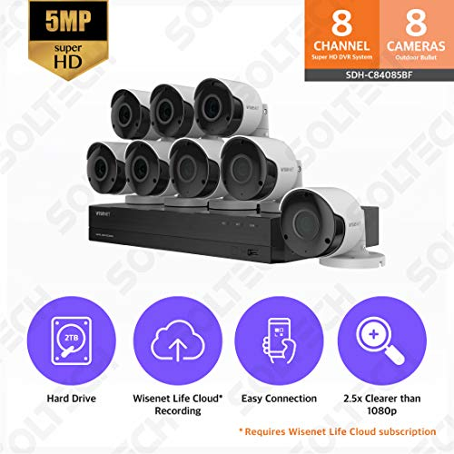 Wisenet SDH-C84085BF 8 Channel Super HD DVR Video Security System with 2TB Hard Drive and 8 5MP Weather Resistant Bullet Cameras (SDC-89445BF)