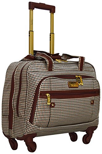(Nicole Miller New York Taylor Carry On Spinner Briefcase (Brown Plaid))