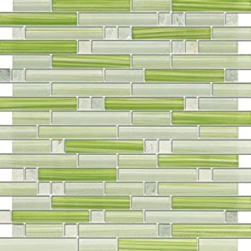 Xen Ming Green Stone And Glass Mosaic Tiles For Kitchen Bathroom Backsplash Shower Walls