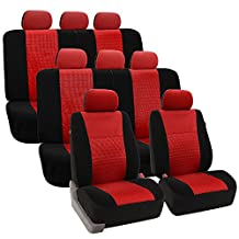 FH GROUP FH-FB060128 Three Row Trendy Elegance Car Seat Covers w. 8 Headrests, Airbag compatible and Split Bench, Red / Black color- Fit Most Car, Truck, Suv, or Van