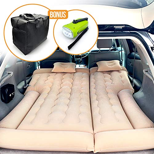 PBC Products SUV Air Mattress, Double Sided Inflatable Mattress with Travel Pillows and Electric Car Air Pump, Portable Camping Air Bed for SUVs Back Seat with Carrying Bag