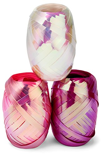 Color Curling Ribbon - Curling Ribbon Three Assorted Colors: 3/16 Inch x 22 Yard - 60 Meters - Extra Long Iridescent Pearl, Baby Pink, Fuchsia Ribbon Egg 3 Pack in Storage Organizer for Decorative Gift Wrapping & Balloons