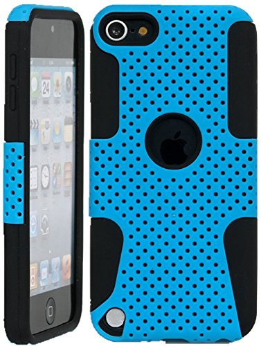 iPod Touch, iSee Case (TM) Slim Fit Hybrid Perforated Mesh Full Cover Cas for Apple iPod Touch 6 6th Generation/5 5th Generation (it6-Perforated Blue on Black) (A Cas Of A Ipod)