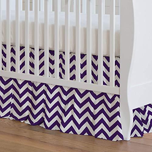 Carousel Designs Purple Chevron Crib Skirt 17-Inch Gathered 17-Inch Length - Organic 100% Cotton Crib Skirt - Made in The USA ()
