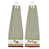 Christmas Holiday Tabletop & Kitchen - Whimsical Christmas Green Button Loop Kitchen Towel Set