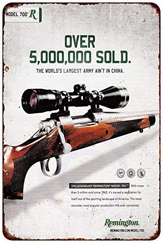 HarrodxBOX Remington 700 Over 5 Million Sold Vintage Look Reproduction Metal Tin Signs for Home Decor Wall Post Housewarming Gift 12 x 18