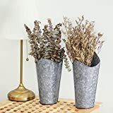 Mkono Galvanized Metal Wall Planter, 2 Sets