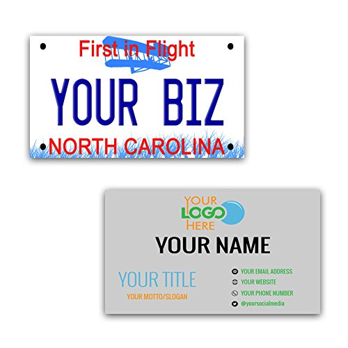 BleuReign(TM) Personalized Custom Aluminum North Carolina License Plate Double Sided Business Cards set of 100 - with FREE BUSINESS CARD ()