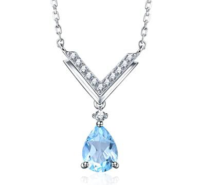 ef28a2cc7 Image Unavailable. Image not available for. Color: EL UNO 925 Sterling  Silver Pear Shape Blue Topaz Halo Pendants Necklace ...