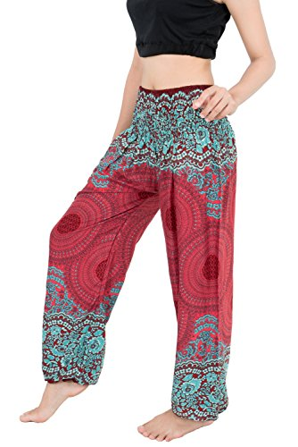 Banjamath? Women's Smocked Waist Harem Hippie Boho Yoga Palazzo Casual Pants (XL, Mandala Red)