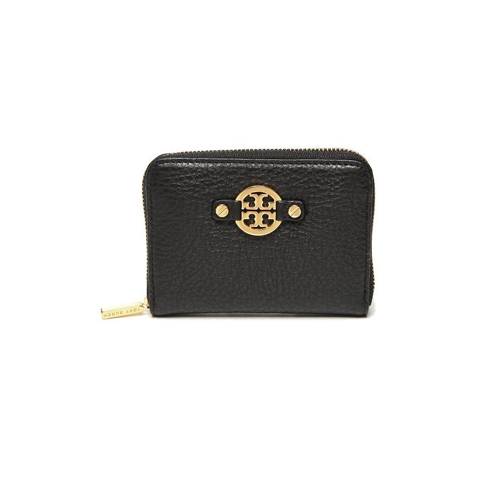 Tory Burch 50009090 Amanda Pebbled Leather Zip Coin Case Black by Tory Burch