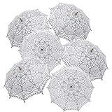 TopTie 6 PCS Lace Umbrellas Parasol Wedding Bridal Photograph Decoration Costume Accessories