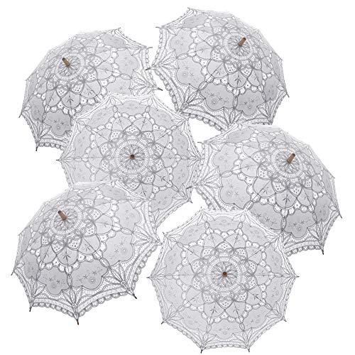TopTie 6 PCS Lace Umbrellas Parasol Wedding Bridal Photograph Decoration Costume -