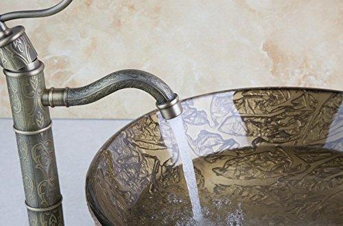 GOWE Bathroom Basin Sink Vessel Tap Antique Brass Excellent Quality Lavatory Glass Basin Set 1