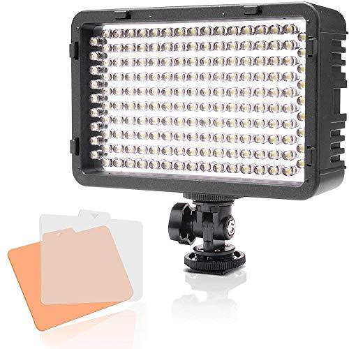 Selens LED 168 Luz Regulable Ultra Alta Potencia Panel Camara/Videocamara Iluminacion para Camara Reflex Digital DSLR con Bi-Color Filtro, Adaptador de Bateria y Soporte de Montaje de Zapata