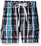 Kanu Surf Little Boys Toddler Paradigm Plaid Swim Trunk, Charcoal, 3T