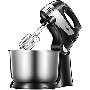 Aicok Stand Mixer 2-in-1 Hand Mixer, Detachable Mixer with Turbo and Easy Eject Button, Include Sturdy Beaters, Dough Hooks and Stainless Steel Bowl, Black