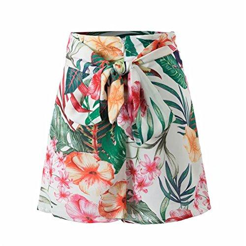 Pantalons Loisir Jaune Corde Floral de Shorts Haute Oudan Lin Taille Imprim en Mini Femme avec nHzw60B