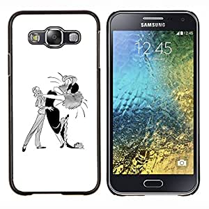 YiPhone /// Prima de resorte delgada de la cubierta del caso de Shell Armor - Danza Caricatura Hombre Mujer Arte Dibujo - Samsung Galaxy E5 E500