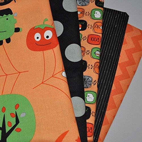 Halloween Orange 5 Fabric Fat Quarters Bundle for