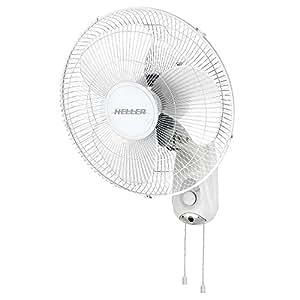 Heller White 40cm Wall Fan w/ Pull Cord/3 Speed/Oscillating/Tilt Adjustable