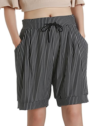 SILUKER Women's Casual Elastic Waist with Drawstring Outdoor Walking Bermuda Shorts with 2 Pockets