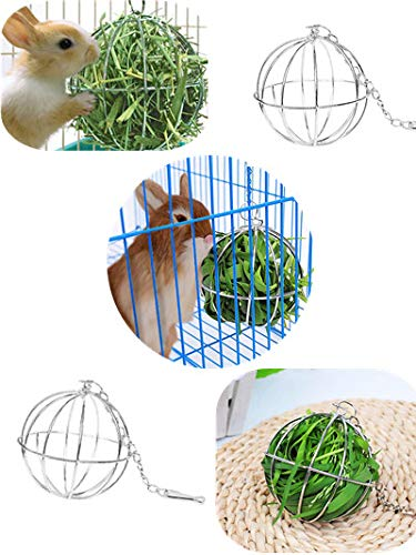 Pet Hay Ball,Rabbit Sphere Feed Dispenser Food,Ware Manufacturing Hay Ball, Hanging Bedding Rat Chew Toy,Cute Hay Feeder Rack Small Animals Cage Accessories (3.14in)