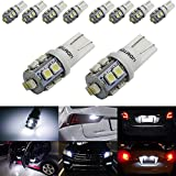 honda civic 02 accessories - iJDMTOY (10) Xenon White 10-SMD 360-Degree Shine 168 194 2825 W5W LED Replacement Bulbs For License Plate Lights, Also Parking Lights, Backup Lights, Interior Lights