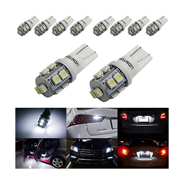 IJDMTOY (10) Xenon White 10 SMD 360 Degree Shine 168 194 2825 W5W LED Replacement Bulbs Compatible With License Plate Lights, Also Parking Lights, Backup Lights, Interior Lights
