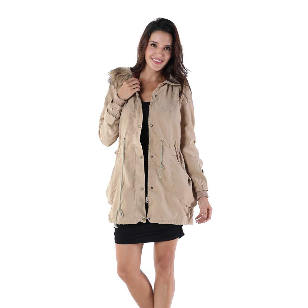 OMONSIM Women Hoodie Zip Up Fur Coat Autumn Winter Warm Jacket Plus Size Parka Outwear (XX-Large, Slim_Khaki)