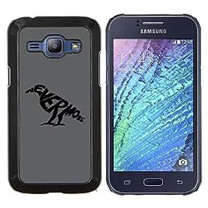 TECHCASE---Cubierta de la caja de protección para la piel dura ** Samsung Galaxy J1 J100 ** --Nunca más cuervo