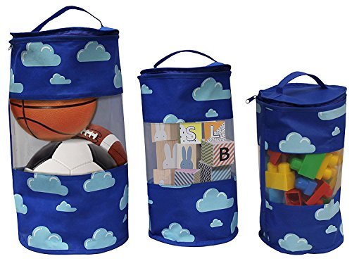 Earthwise Toy Storage Bags - Organizing Kid's Toys Colorful Cute Clouds Print Set of 3 Small, Medium and Large Tote