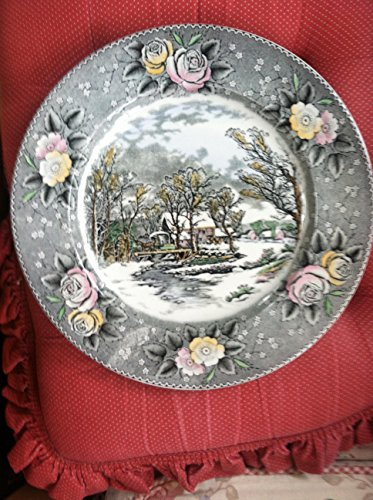 Winter in the Country, The old Grist Mill colored China plate Adams China China Plates