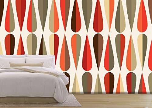 Vector Mid Century Style Retro Seamless Pattern with Drop Shapes in Various Color Tones