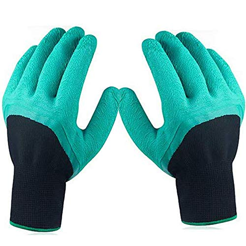 ESOW Gardening Gloves, Waterproof Garden Gloves for Digging Planting, Safe for Rose Pruning, Best Gardening Gifts for Women and Men,1 Pair without Claws (Green)