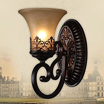 YPOSION American Country-style single head dual head wall lights living room wall lamp modern ...