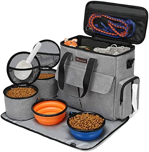 Modoker Airline Approved Pet Travel Bag,Weekend Dog Travel Set for Dog and Cat, Airline Approved Tote Organizer with Multi-Function Pockets