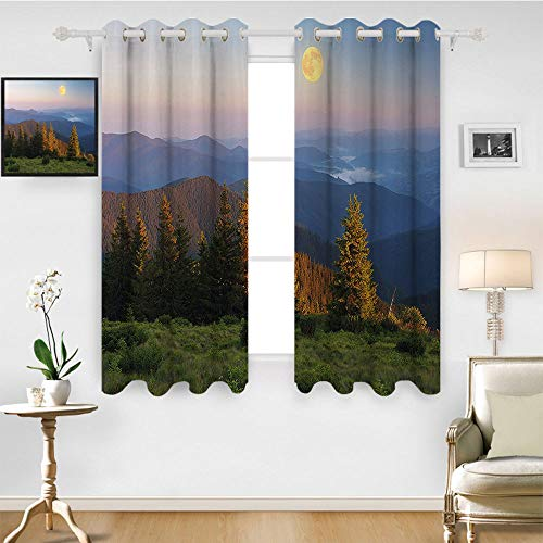 - SATVSHOP 100% Blackout Window Curtain Panels - 120W x 96L Inch- Liner for Nursery.Nature Mountain Moon on Sky Pine Tree Hills Ural Heaven Country Slate Blue Fern Green Apricot.