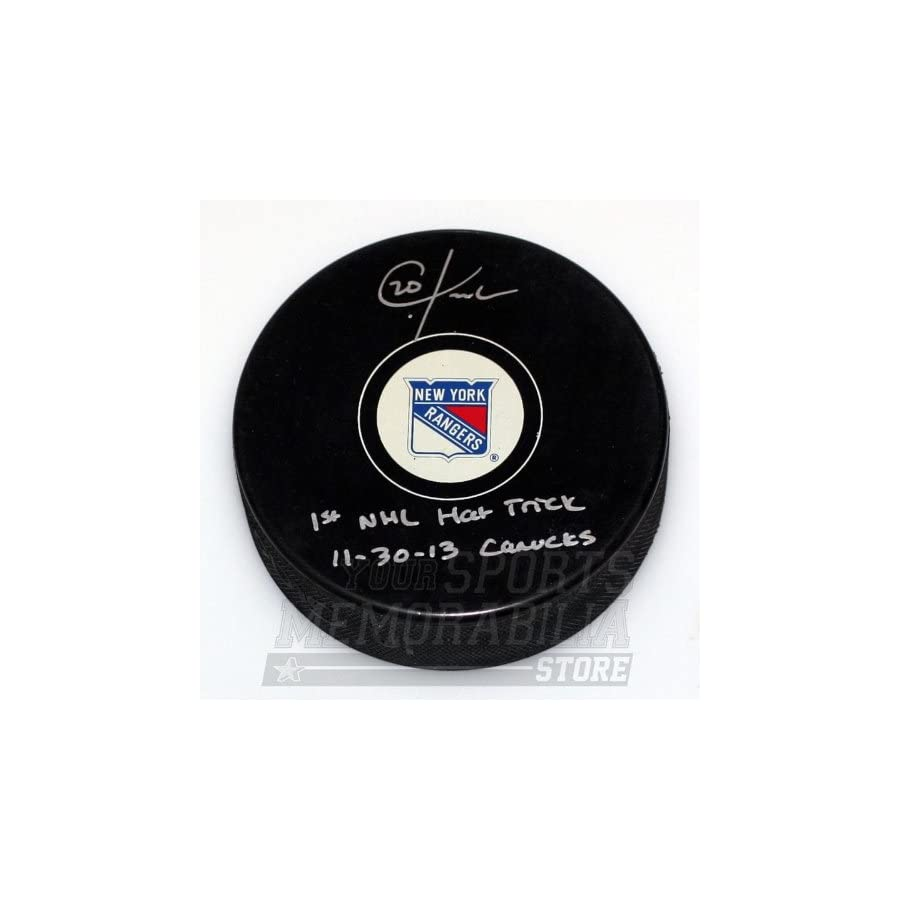 Chris Kreider New York Rangers Signed Autographed 1st Hat Trick Inscribed Puck
