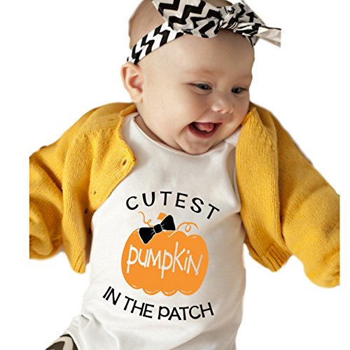 Cutest Little Pumpkin in the Patch Baby Onesies Girl Short Sleeves Cute Cool Unique Baby Gift (6-12M)