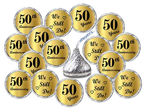 Gold Foil 50th Anniversary Kisses Stickers, (Set of 216) Chocolate Drops Labels Stickers for 50th Wedding Anniversary, Hershey's Kisses Party Favors Decor ()