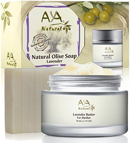 Pregnancy Stretch Marks Belly Kit - Premium 100% Natural Skin Tummy Butter 1.7 oz & Lavender Soap 3.4 oz - Shea, Cocoa, Coconut, Jojoba, Olive & Almond Oils Blend Set