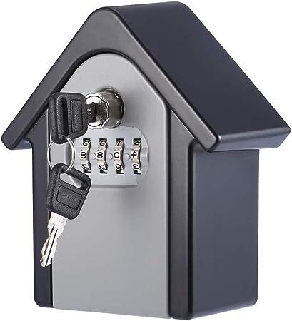 KNDJSPR Caja de Cerradura con Llave de Caja de Cerradura con Llave para Ocultar en el Exterior, con código reiniciable de combinación de 4 dígitos, más Conveniente, Cajas Exteriores de Seguridad: Amazon.es: