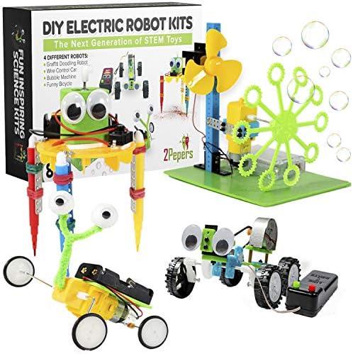 [해외]2Pepers 아이들을 위한 전기 모터 로봇 과학 키트 (4-in-1) DIY STEM 장난감 어린이 과학 실험 키트 소년과 소녀를 위한 교육 로봇 키트 조립 회로 엔지니어링 과학 프로젝트 키트 / 2Pepers Electric Motor Robotic Science Kits for Kids (4-in-1)...