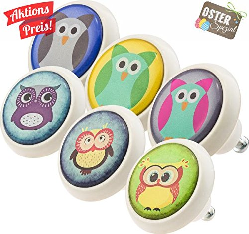 Furniture Knobs Assorted Set 0002 Owls 6 pcs Ceramic Vintage Style Ceramic Cupboard Decor Door Knobs Kitchen Cabinet Drawer Pulls Handles for Kids Nursery Jay Knopf