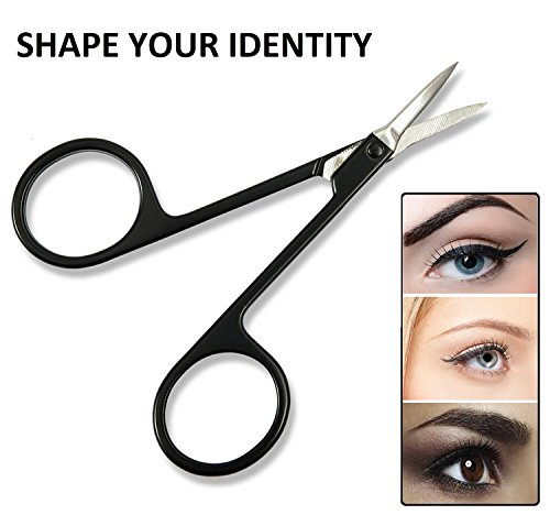 Facial Hair Removal Kit w/ Slanted Tip Tweezers, Pointed Tip Tweezer & Stainless Steel Eyebrow Scissors - For Grooming, Ingrown Hair, Blackhead & Tick Remover, Splinter, Eyebrows